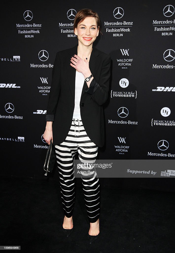 Christiane Paul attends Dawid Tomaszewski Autumn/Winter 2013/14 fashion show during Mercedes-Benz Fashion Week Berlin at Brandenburg Gate on January 18, 2013 in Berlin, Germany.