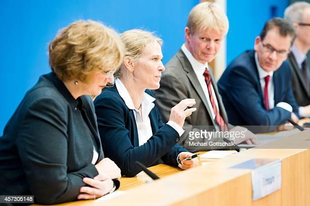 Christiane Schnura head of Clean Clothes Campaign Antje von Dewitz CEO of VAUDE Sport Reiner Hoffmann chairman of German union Deutscher...