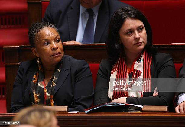 Christiane Taubira french Minister of Justice and Sylvia Pinel french Minister for Country Planning and Housing participate at the Questions to the...