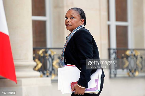 Christiane Taubira Keeper of the Seals Minister of Justice arrives at the Elysee Palace in Paris for a crisis cabinet meeting on November 14 2015 in...