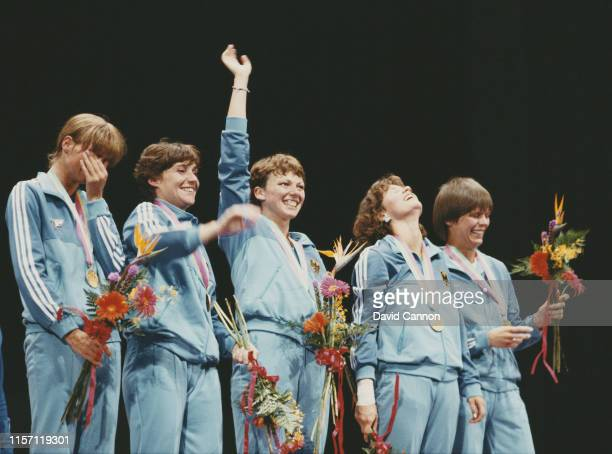 Christiane Weber, Cornelia Hanisch, Sabine Bischoff, Ute Kircheis-Wessel and Zita-Eva Funkenhauser of Germany celebrate winning the Women's team foil...
