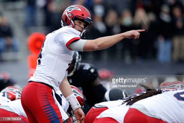 ChristianHackenberg of Memphis Express calls a play at the line during an Alliance of American Football game against the Birmingham Iron at Legion...