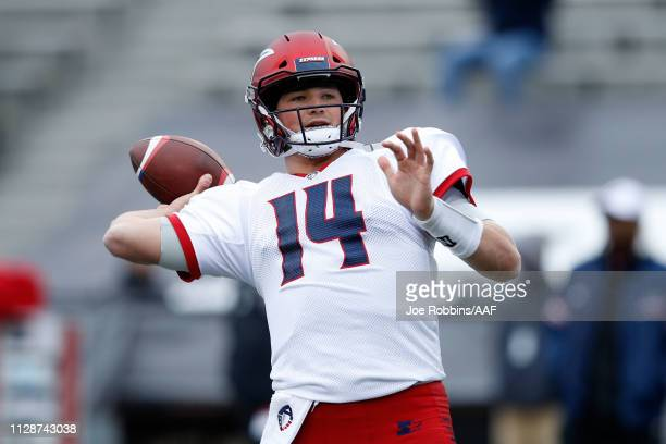 ChristianHackenberg of Memphis Express participates in warmups prior to an Alliance of American Football game against the Birmingham Iron at Legion...