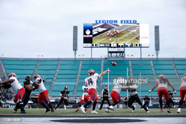 ChristianHackenberg of Memphis Express throws a pass during an Alliance of American Football game against the Birmingham Iron at Legion Field on...