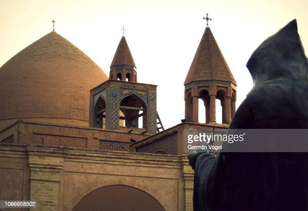 christianity in iran: crosses, towers, statues and domes of orthodox armenian vank cathedral in isfahan - vogel stock pictures, royalty-free photos & images