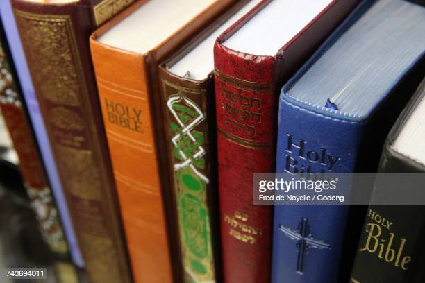 christianity, islam and judaism : 3 monotheistic religions. bible, quran and bible. interfaith symbols.  france. - religious symbol stock pictures, royalty-free photos & images