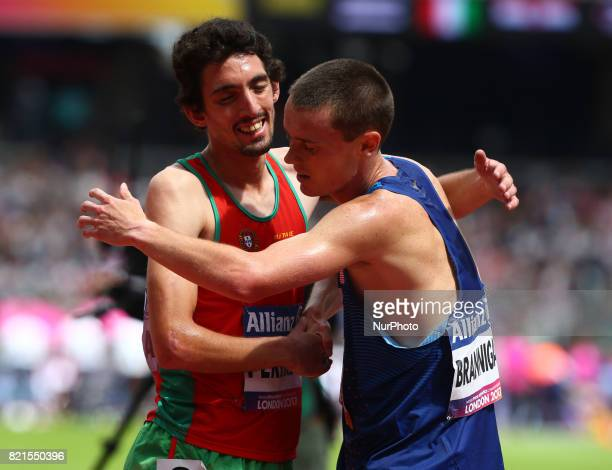 Christiano Perrira of Portugal celebrate with Michael Brannigan of USAMan's 1500m T20 Final during World Para Athletics Championships at London...
