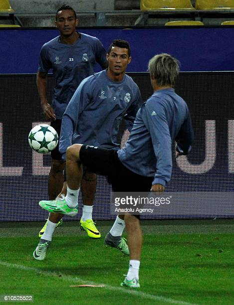 Christiano Ronaldo attends a training session ahead of the UEFA Champions League group F soccer match between Borussia Dortmund and Real Madrid CF at...