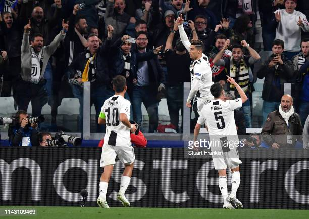 Christiano Ronaldo of Juventus celebrates scoring the first goal during the UEFA Champions League Quarter Final second leg match between Juventus and...
