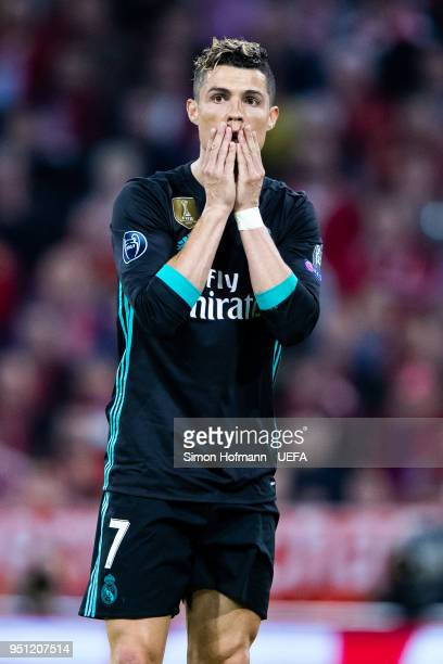 Christiano Ronaldo of Madrid reacts during the UEFA Champions League Semi Final First Leg match between Bayern Muenchen and Real Madrid at the...