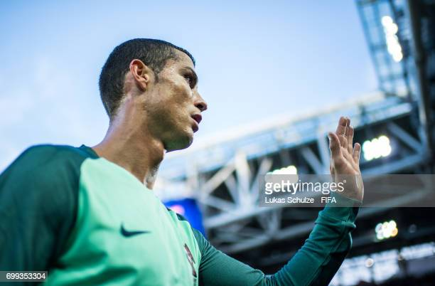 Christiano Ronaldo of Portugal leaves the pitch after winning the FIFA Confederations Cup Russia 2017 Group A match between Russia and Portugal at...