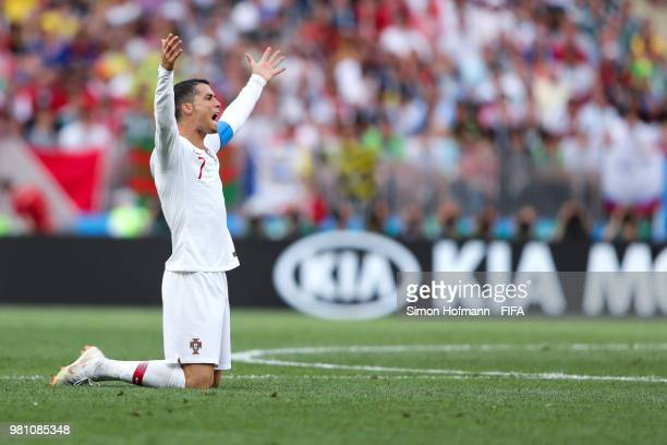 Christiano Ronaldo of Portugal reacts during the 2018 FIFA World Cup Russia group B match between Portugal and Morocco at Luzhniki Stadium on June...