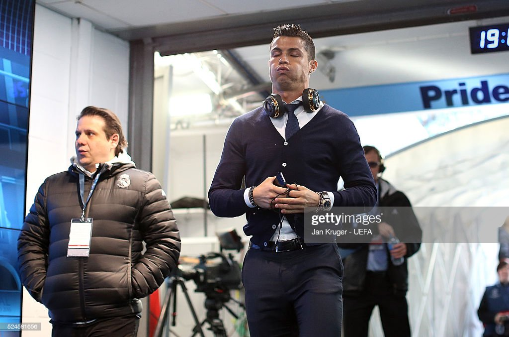 Christiano Ronaldo of Real Madrid appears dejected as he makes his way to the changing room ahead of the UEFA Champions League semi final first leg match between Manchester City FC and Real Madrid on April 26, 2016 in Manchester, England.