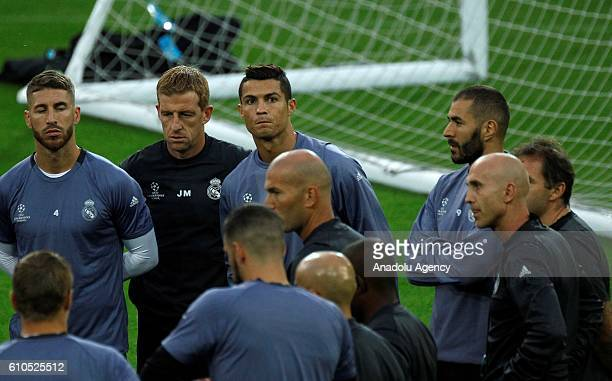 Christiano Ronaldo of Real Madrid CF attends a training session ahead of the UEFA Champions League group F soccer match between Borussia Dortmund and...