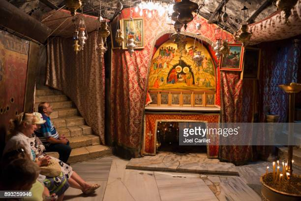 Christians at Grotto of the Nativity in Bethlehem, Palestine