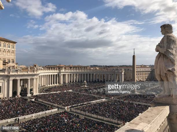Christians attend the mass of Easter leaded by Pope Francis on April 1 2018 at St Peter's square in Vatican City Vatican Christians are marking the...