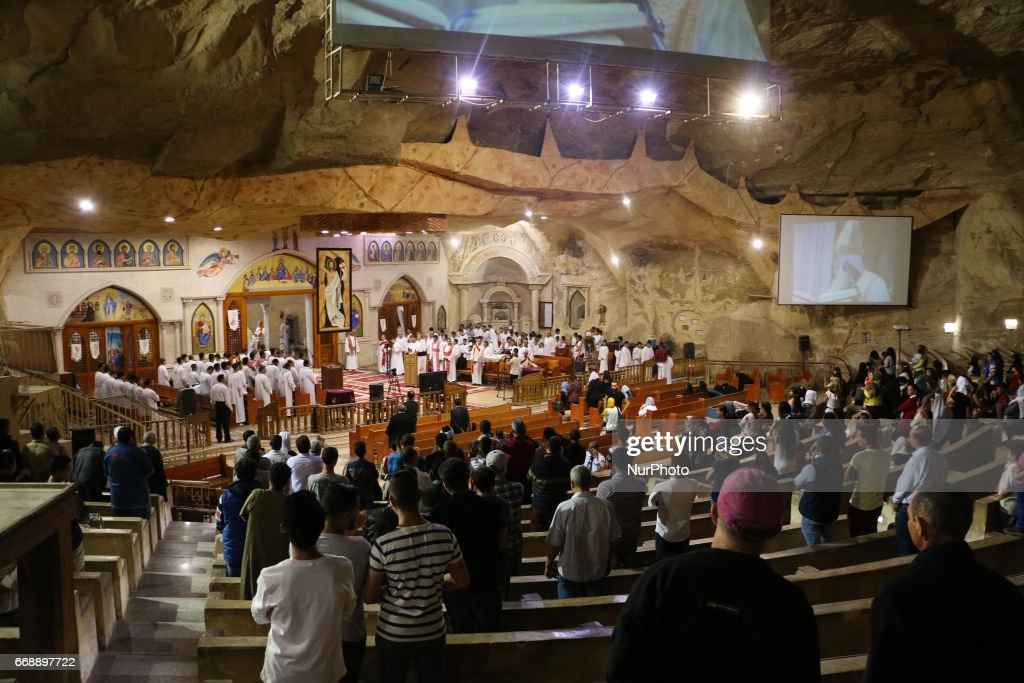 Christians Coptic attend the Mass feast in the monastery of Samaan