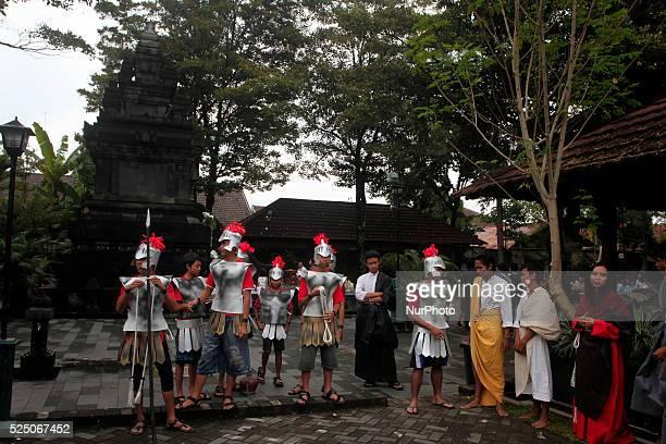 Christians do drama Way of the Cross or Tablo in the Church of Hati Kudus Tuhan Yesus Ganjuran Bantul Yogyakarta Indonesia on April 3 2015 The...