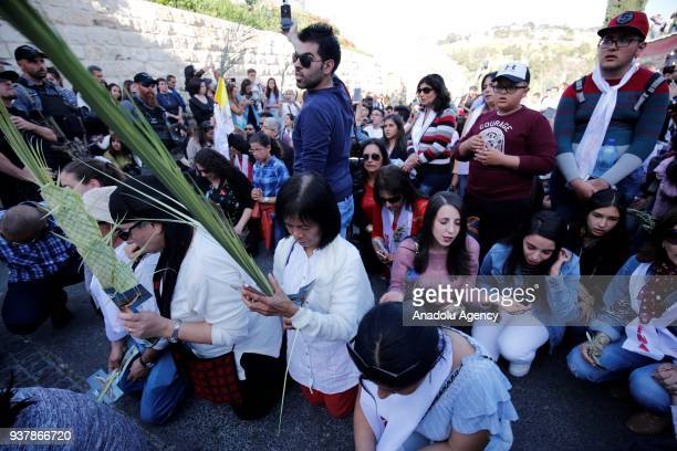 Christians hold palm tree branches in their hands as they walk to Church of the Holy Sepulchre during the Palm Sunday celebrations in Old Town of...