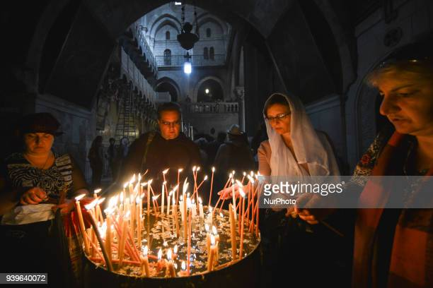 Christians Orthodox pray inside the Holy Sepulchre church in the Old Town of Jerusalem Wednesday 14 March 2018 in Jerusalem Israel