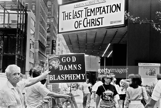 Christians protest outside the Ziegfeld Theater in Manhattan at the portrayal of Christ in Martin Scorsese's film 'The Last Temptation of Christ' New...