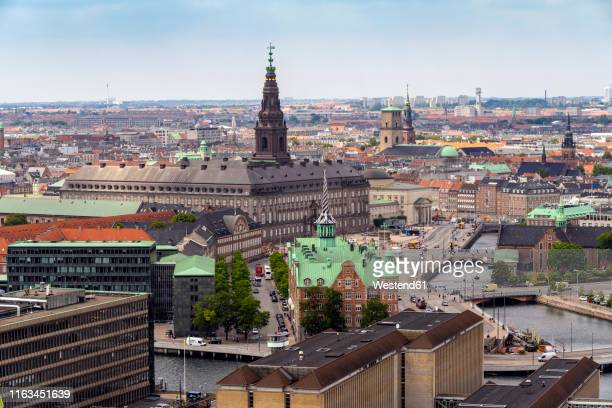 christiansborg castle seen from church of our saviour, copenhagen, denmark - christiansborg palace stock pictures, royalty-free photos & images