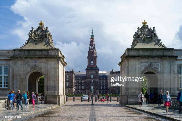 Christiansborg Palace a Copenhagen is the headquarters of the Folketing is of a neobaroque historicist style Copenhagen August 18 2019 Denmark