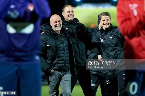 B S Christiansen mental coach of FC Midtjylland Jess Thorup head coach of FC Midtjylland celebrate after the Danish DBU Pokalen Cup quarterfinal...