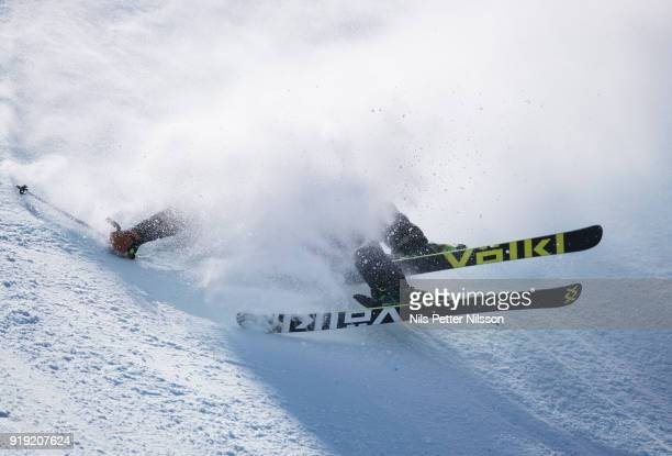 Christiansen Sjaastad Tiril of Norway crashes during the Womens Slopestyle Freestyle Skiing on day eight of the PyeongChang 2018 Winter Olympic Games...