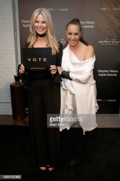 Christie Brinkley and Donna Karan attend the Stephan Weiss Apple Awards at Urban Zen on October 24 2018 in New York City