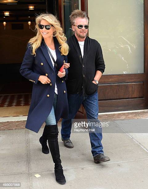 Christie Brinkley and John Mellencamp are seen in Soho on October 16 2015 in New York City