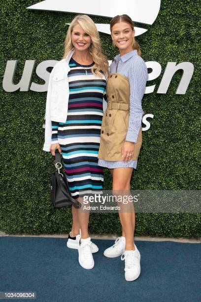 Christie Brinkley and Nina Agdal at Day 14 of the US Open held at the USTA Tennis Center on September 9, 2018 in New York City.