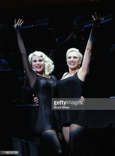 """Christie Brinkley as """"Roxie Hart"""" and Amra-Faye Wright as """"Velma Kelly"""" during the curtain call as Christie Brinkley returns to the hit musical..."""