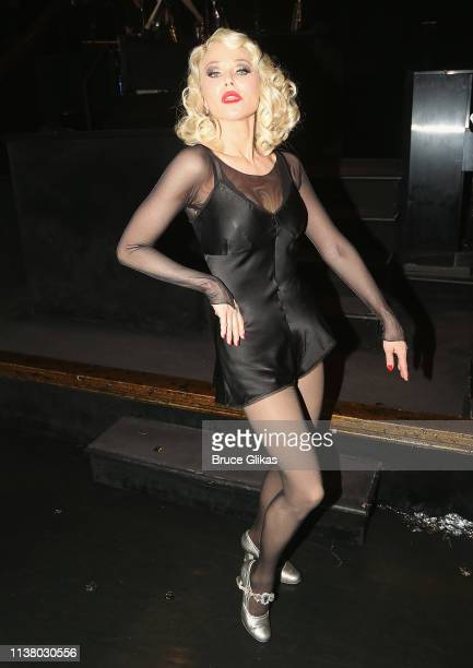 """Christie Brinkley as """"Roxie Hart"""" poses backstage as she returns to the hit musical """"Chicago"""" on Broadway at The Ambassador Theater on April 18, 2019..."""