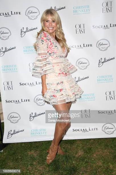 Christie Brinkley and Christine Montanti attend the 7th Annual St Barth Hamptons Gala at Bridgehampton Historical Museum on July 21 2018 in...
