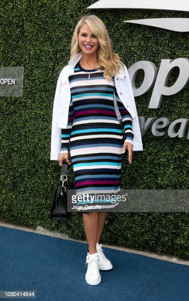 Christie Brinkley attends the men's final on day 14 of the 2018 tennis US Open on Arthur Ashe stadium at the USTA Billie Jean King National Tennis...