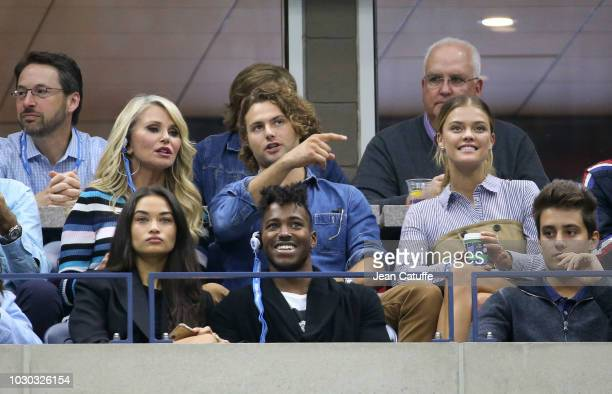 Christie Brinkley her son Jack Brinkley Nina Agdal below them Shanina Shaik and husband DJ Ruckus attend the men's final on day 14 of the 2018 tennis...