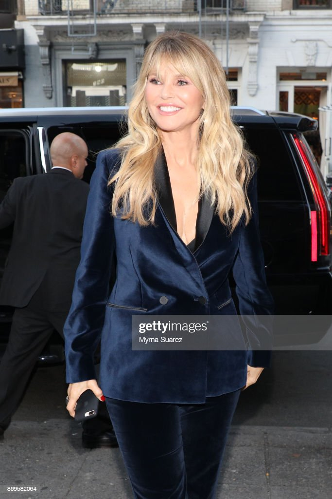 Christie Brinkley in a suit by Stella McCartney arrives a cocktail party to celebrate Christie as the new spokesperson for Xeomin and Ultherapy at Gold Bar on November 2, 2017 in New York City.