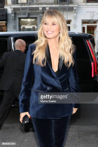 Christie Brinkley in a suit by Stella McCartney arrives a cocktail party to celebrate Christie as the new spokesperson for Xeomin and Ultherapy at...