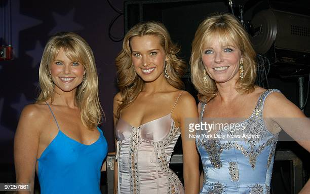 Christie Brinkley Petra Nemcova and Cheryl Tiegs get together at the unveiling of Sports Illustrated's 2004 swimsuit issue and its 40th anniversary...