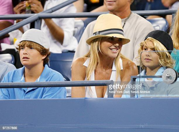 Christie Brinkley son Jack Paris and daughter Sailor Lee watch a match between Venus Williams of the United States and Kira Nagy of Hungary in Arthur...