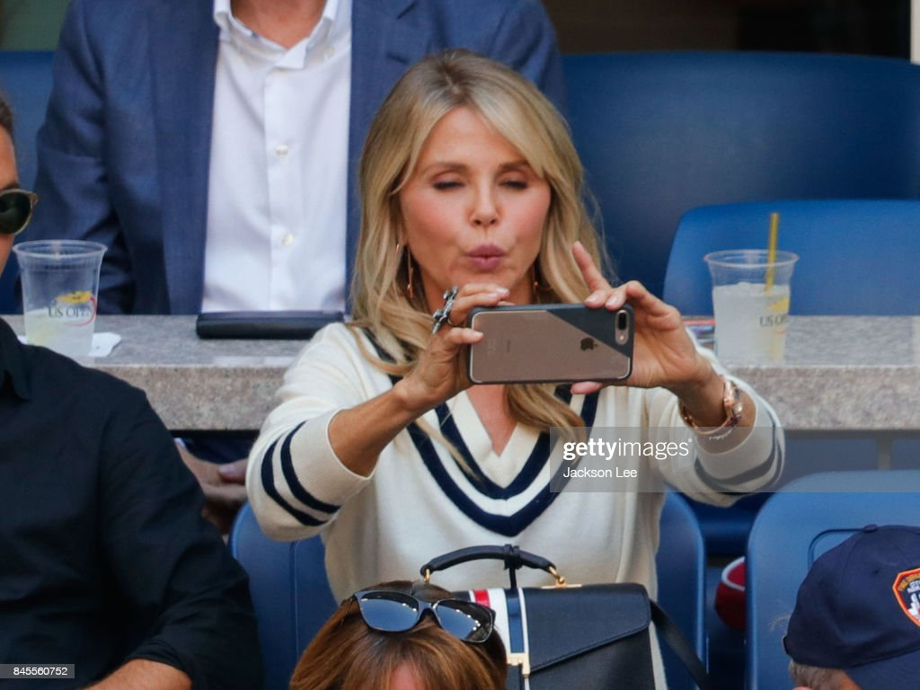 Christy Brinkley takes a selfi at the 2017 US Open Men's Championships at Arthur Ashe Stadium on September 10, 2017 in New York City.