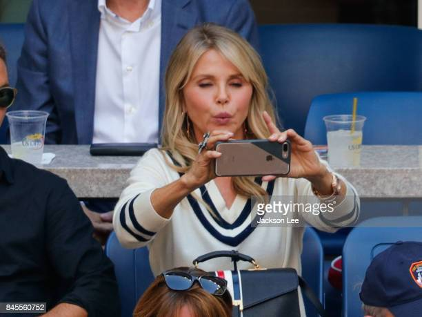 Christie Brinkley takes a selfi at the 2017 US Open Men's Championships at Arthur Ashe Stadium on September 10 2017 in New York City