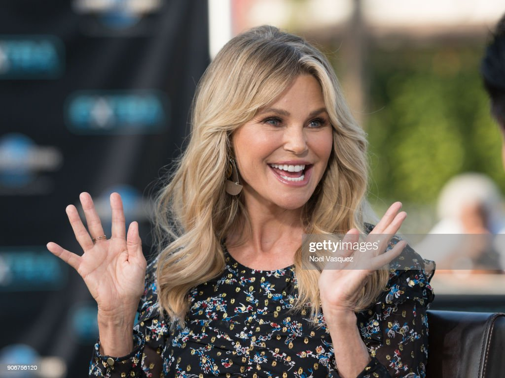Christie Brinkley visits 'Extra' at Universal Studios Hollywood on January 18, 2018 in Universal City, California.