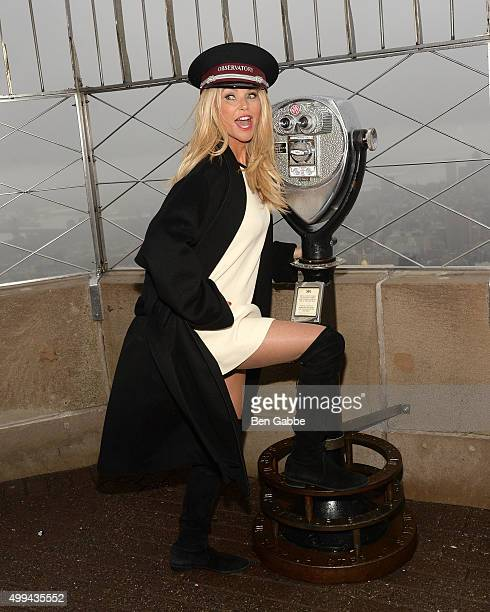 Christie Brinkley visits The Empire State Building to celebrate Give A Smile Get A Smile Launch at The Empire State Building on December 1 2015 in...
