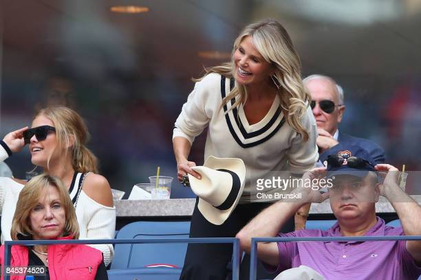 Christie Brinkley watches the Men's Singles finals match between Kevin Anderson of South Africa and Rafael Nadal of Spain on Day Fourteen of the 2017...