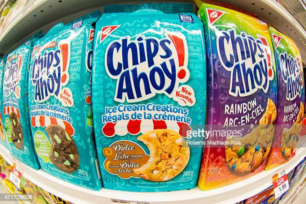 Christie Chips Ahoy cookies in a store shelf Christie brand belongs to Nabisco which is an American manufacturer of cookies and snacks