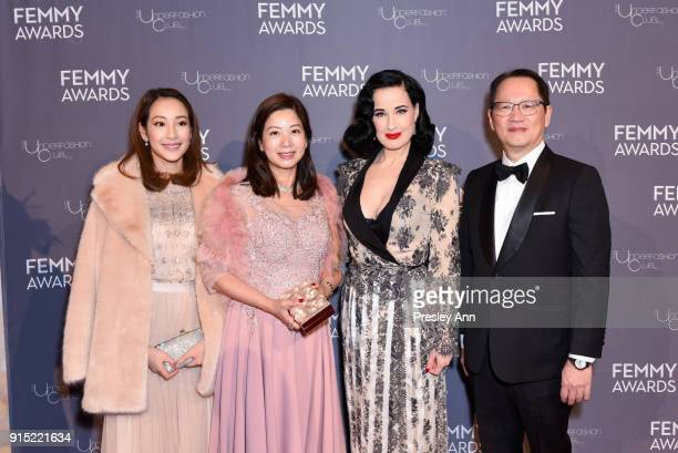 Christie Fung Kitty Fung Dita Von Teese and Tommy Fung attend 2018 Femmy Awards hosted by Dita Von Teese on February 6 2018 in New York City