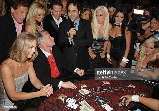 Christie HefnerBridget MarquardtHugh Hefner George Maloof Kendra Wilkinson and Holly Madison