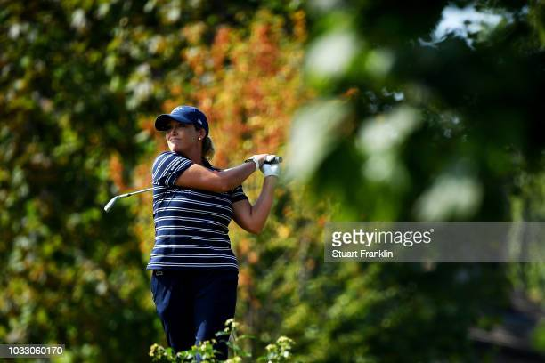 Christie Kerr of The United States plays a shot during day two of the Evian Championship at Evian Resort Golf Club on September 14 2018 in...